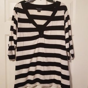 Twist Tees blue and white striped womans p size 2
